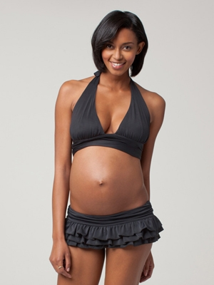 Ingrid & Isabel Maternity Bikini with Banded Top and Ruffle Bottom-0