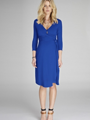 Isabella Oliver Wrap Maternity Dress in Cobalt-12770