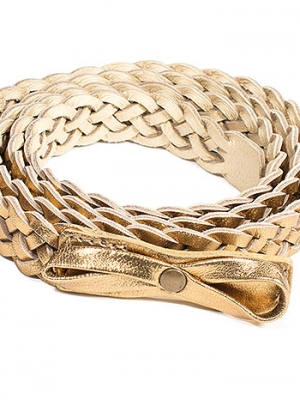 Braided Belt in Bronze Metallic Leather