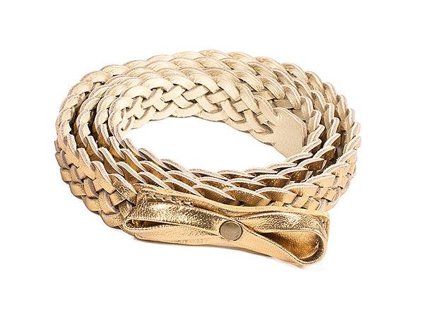 Braided Belt in Bronze Metallic Leather
