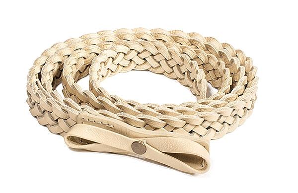 Slacks & Co. Belt - Braided Leather in Cream-0