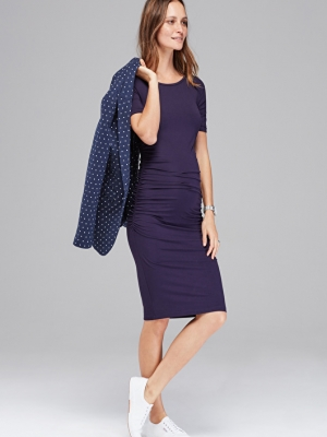maternity t-shirt dress with ruching at both sides