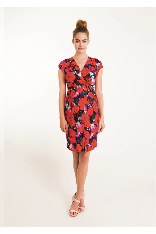 982a343453891 Floral Tie-Front Maternity Dress in Crepe - hautemama