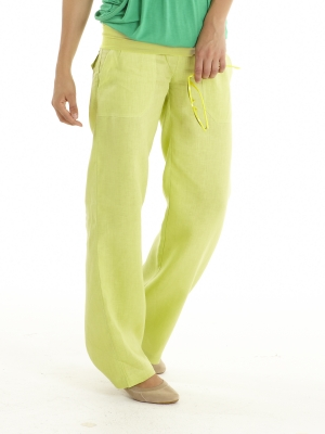 MEV Classic Linen Wide Leg Pants in Chartreuse-0