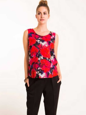 Fragile sleeveless maternity floral top