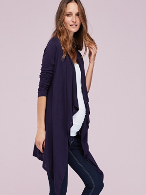 knitted maternity cardigan in darkest navy