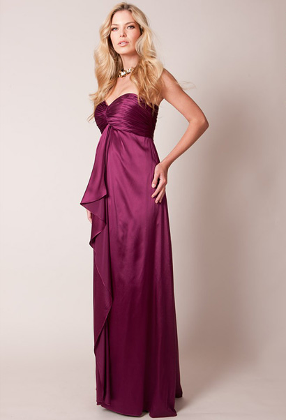 strapless maternity evening gown with built in bra