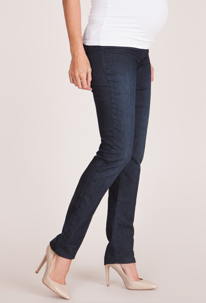 maternity jeans in dark wash with belly panel - can be worn up or folded down