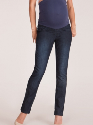 Seraphine Drew maternity jeans in dark wash with slim leg and belly panel