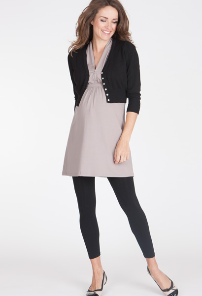 cropped maternity cardigan with mother of pearl buttons