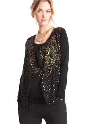 Seraphine maternity gold sequinned cardigan in black