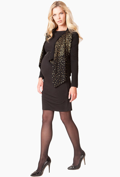 Seraphine maternity knit cardigan in black with gold sequins