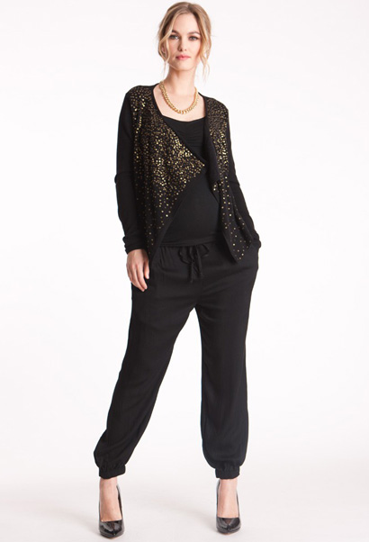 maternity cardigan in knit with sequins