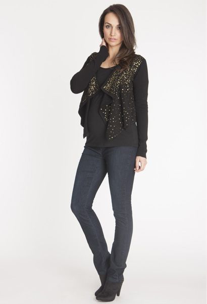 Seraphine maternity waterfall cardigan in black with gold sequins