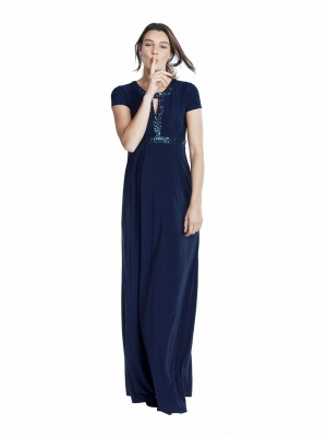Isabella Oliver Maxi Dress with Sequins in Navy