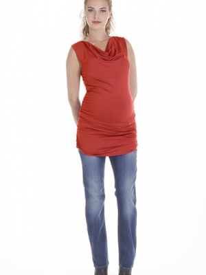 Queen Mum maternity tunic with cowl neckline and side ruching