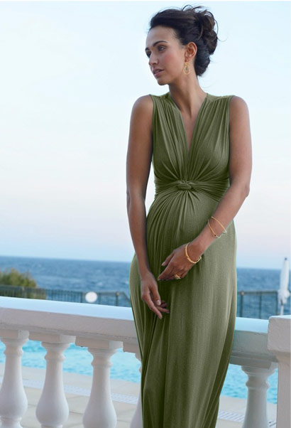 Seraphine maxi dress with knot front in khaki green