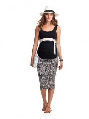 Isabella Oliver's Brock Print Maternity Midi Skirt