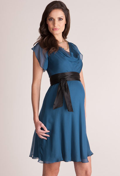 Seraphine silk cocktail dress in petrol blue