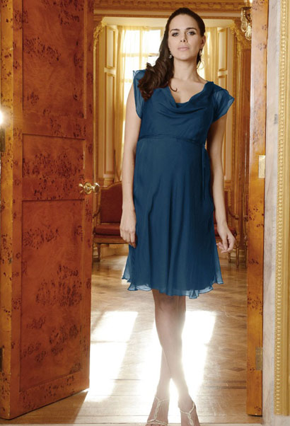 Seraphine maternity cocktail dress in petrol blue