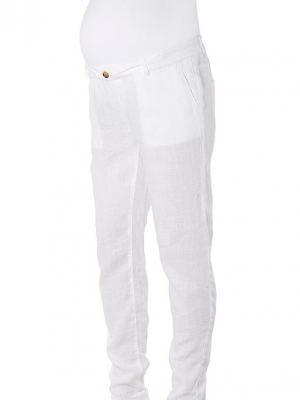 Noppies over the belly loose linen pants in white
