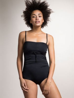 Boob Fast Food & Maternity Swimsuit with Side Ruching in Black-15830