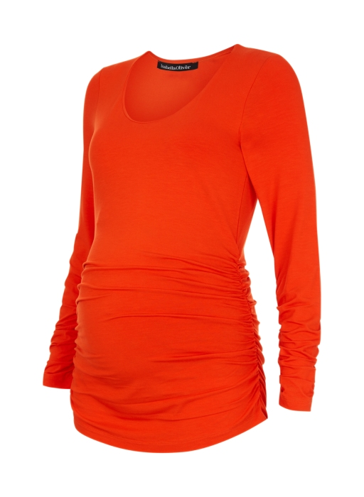 The Materity Scoop Top by Isabella Oliver in Flame orange