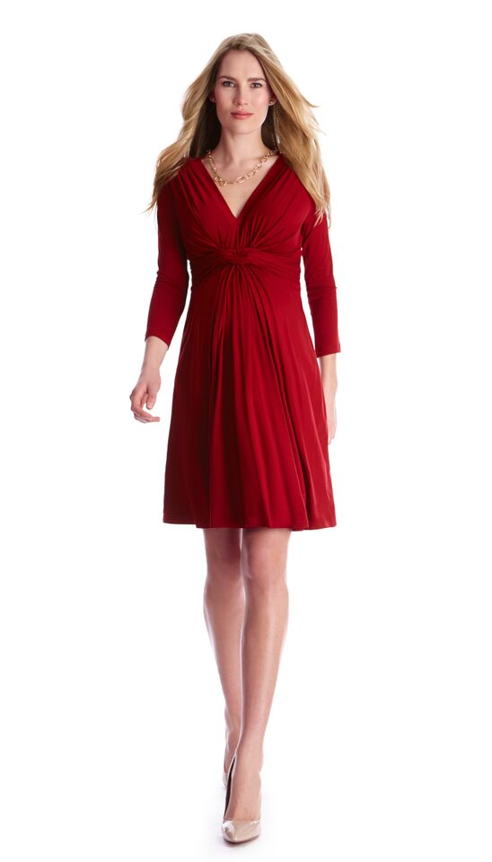Seraphine Jolene front knot maternity dress in red