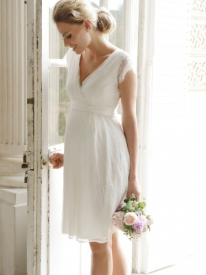 French lace shorrt maternity wedding dress in ivory
