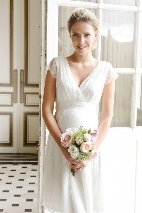 Seraphine Vivienne Short lace maternity wedding dress