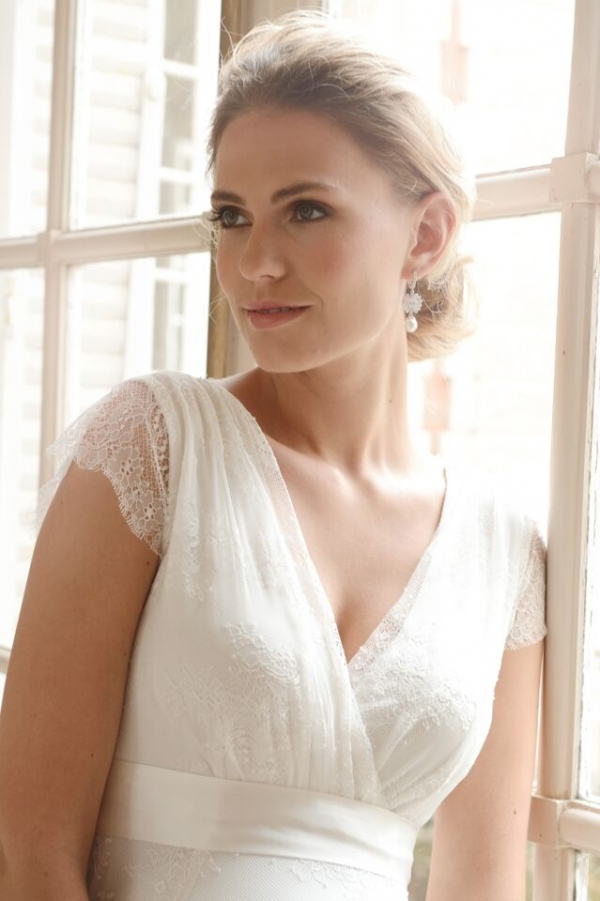 short lace maternity wedding dress in ivory