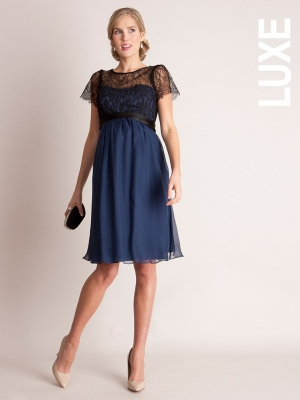 Seraphine silk and lace special occasion maternity dress