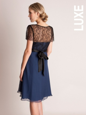 Genevieve silk and lace bridal dress in navy