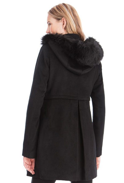 Jacqueline Maternity Duffel Coat with fur trimmed hood