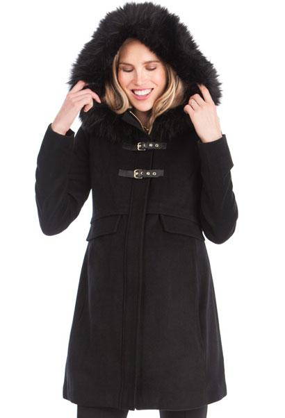Seraphine Jacqueline Fur Trim Maternity Duffel Coat