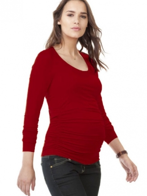 Isabella Oliver Maternity Scoop Top in Carmine Red
