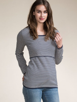 Boob Maternity/Nursing Top in Narrow Stripes