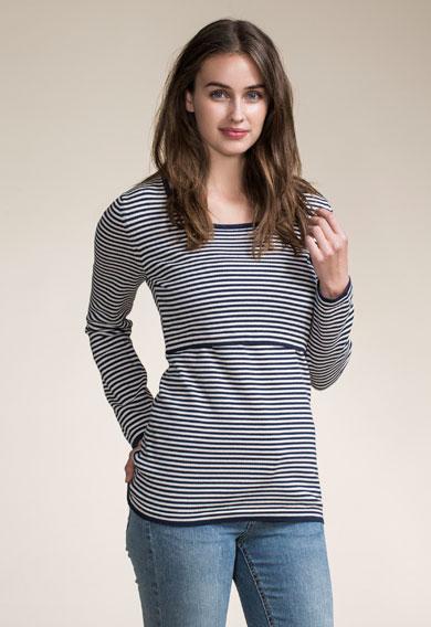 Boob Maternity/Nursing Top in Narrow Stripes
