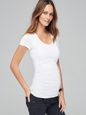 Isabella Oliver Materity Cap Scoop Top with short sleeves