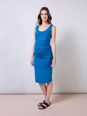 Isabella Oliver ruched t-shirt dress in peacock blue