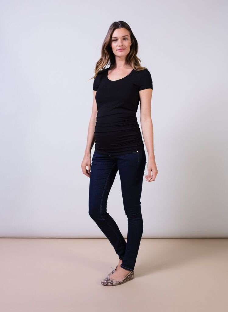 cb654a64546d9 Isabella Oliver t-shirt with cap sleeves in black. The maternity cap scoop  top ...