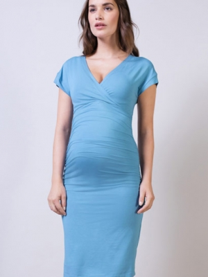 Halstead Maternity Dress in Light denim blue