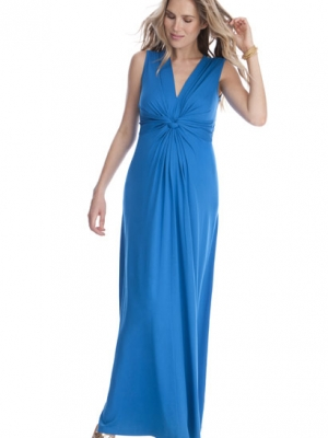 Jo Knot Front Maternity Maxi Dress in Turquoise