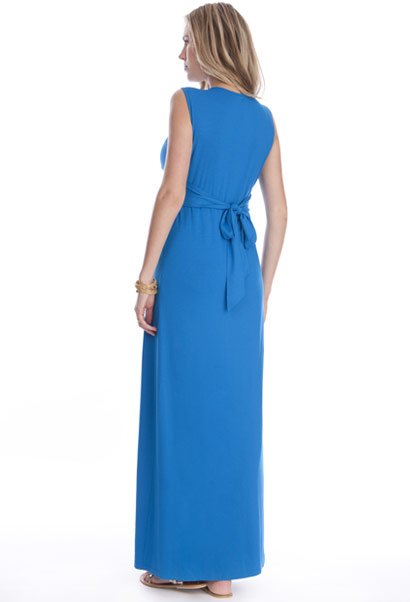 Seraphine Jo Knot Front Maternity Maxi Dress in Seaside