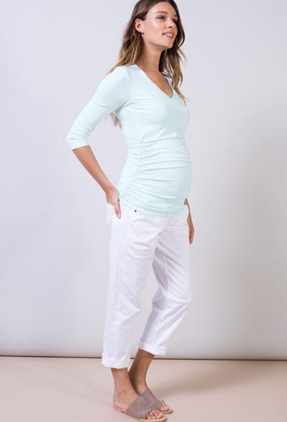 Isabella Oliver Sadie V-Neck Top with 3/4 sleeves