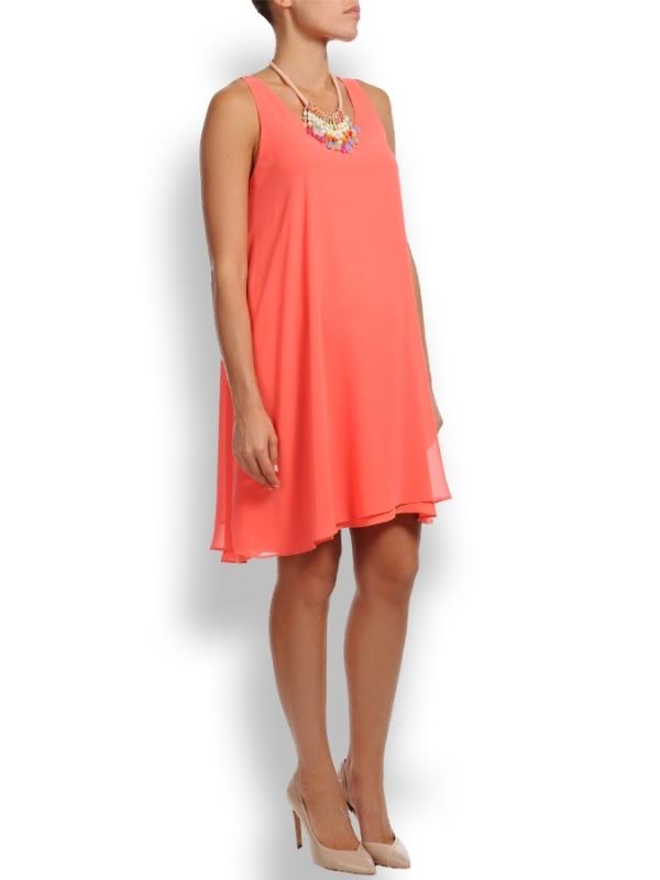 maternity swing dress in soft coral chiffon