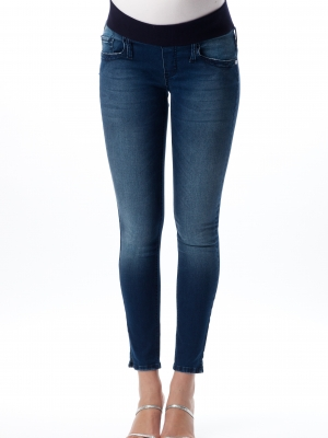 Pietro Brunelli tight leg maternity jeggings in medium dark wash.