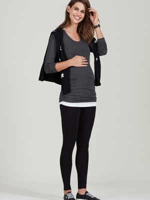a lovely maternity top with cut-out shoulders and long sleeves