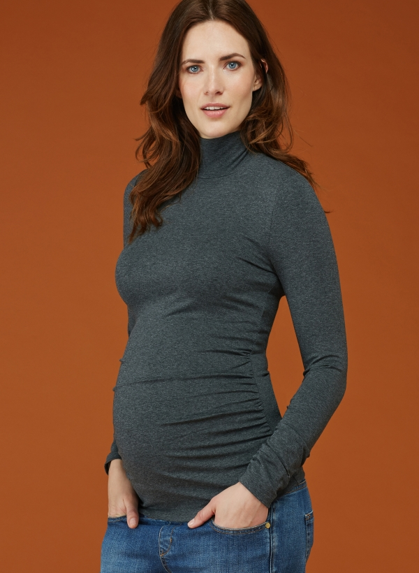 Isabella Oliver ruched maternity turtleneck in dark grey marl