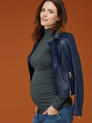 The Maternity Turtleneck in Dark Grey Marl